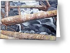 Logs Greeting Card by Leslye Miller