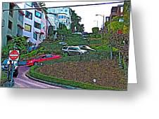 Lombard Street In San Francisco-california  Greeting Card