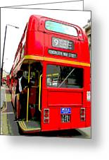 London Bus Heading To Kensington Greeting Card