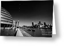 London City Hall On The Banks Of The River Thames With Views Of The City Of London England Uk Greeting Card
