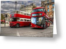 London Double Decker Buses Greeting Card
