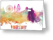 London England Skyline Pastel Greeting Card