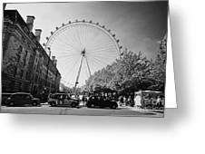 London Eye And County Hall Viewed From The Southbank London England Uk Greeting Card