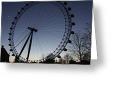 London Eye And New Moon Greeting Card