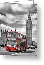 London - Houses Of Parliament And Red Bus Greeting Card