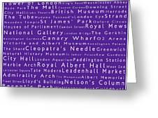 London In Words Purple Greeting Card