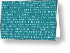 London In Words Teal Greeting Card