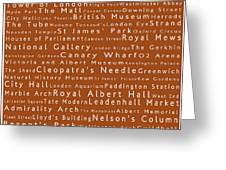 London In Words Toffee Greeting Card