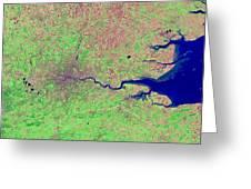 London, Infrared Satellite Image Greeting Card