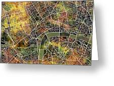 London Map Brown Greeting Card