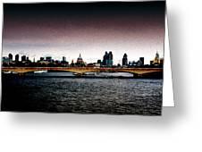 London Over The Waterloo Bridge Greeting Card