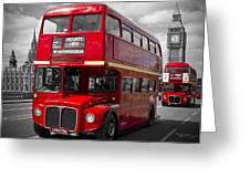 London Red Buses On Westminster Bridge Greeting Card by Melanie Viola