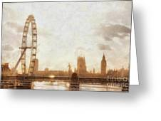 London Skyline At Dusk 01 Greeting Card