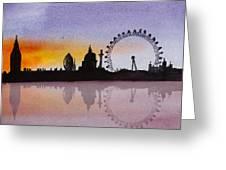 London Skyline At Sunset Greeting Card