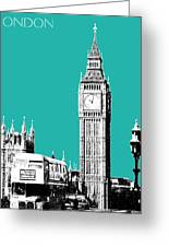 London Skyline Big Ben - Teal Greeting Card