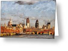 London Skyline From The River  Greeting Card