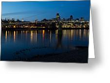 London Skyline Reflecting In The Thames River At Night Greeting Card