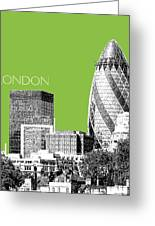 London Skyline The Gherkin Building - Olive Greeting Card