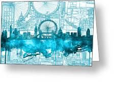 London Skyline Vintage Blue 2 Greeting Card