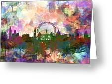 London Skyline Watercolor Greeting Card