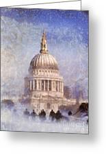 London St Pauls Fog 02 Greeting Card