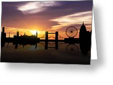 London Sunset Skyline  Greeting Card