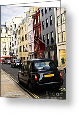 London Taxi On Shopping Street Greeting Card