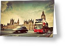 London The Uk Red Bus Taxi Cab In Motion And Big Ben Greeting Card