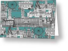 London Toile Blue Greeting Card
