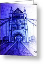 London Tower Bridge Tinted Blue Greeting Card