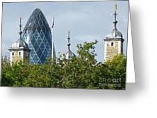 London Towers Greeting Card by Ann Horn