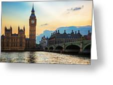 London Uk Big Ben The Palace Of Westminster At Sunset Greeting Card