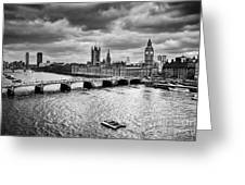 London Uk Big Ben The Palace Of Westminster In Black And White Greeting Card