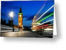 London Uk Red Bus In Motion And Big Ben At Night Greeting Card