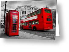 London Uk Red Phone Booth And Red Bus In Motion Greeting Card