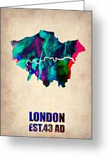 London Watercolor Map 2 Greeting Card by Naxart Studio