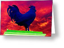 London's Blue Rooster  Greeting Card