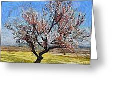 Lone Almond Tree In Bloom Greeting Card