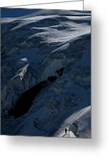 Lone Alpinist Silhouetted On Heavily Greeting Card