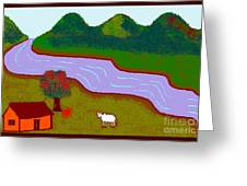 Lone Cow Greeting Card by Meenal C