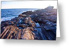 Lone Person On Rocks At Pemaquid Point Greeting Card