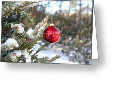 Lone Red Christmas Ball Greeting Card
