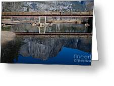 Lone Tourist And  Yosemite Falls Reflection Greeting Card
