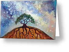 Lone Tree And Milky Way Greeting Card