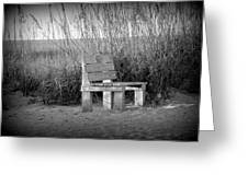 Lonely Beach Bench Greeting Card