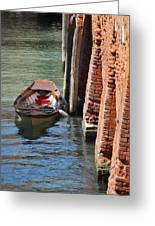Lonely Boat In Venice Greeting Card
