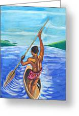 Lonely Boatman In Rwanda Greeting Card
