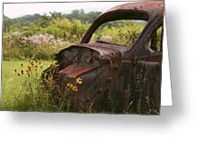 Lonely Car On The Prairie Greeting Card
