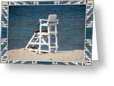 Lonely Lifeguard Station At The End Of Summer Greeting Card