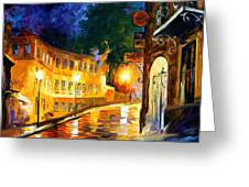 Lonely Night - Palette Knife Oil Painting On Canvas By Leonid Afremov Greeting Card